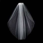 "Veil 350 1E White - Single Layer 30"" Long w/ Swarovski AB Crystal Edge"