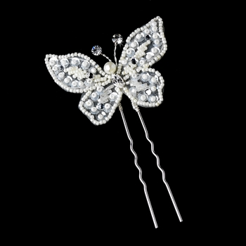 * Silver Ivory Clear Pin 1123