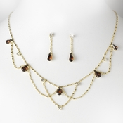 Gold Brown Necklace & Earring Bridal Jewelry Set NE 8000