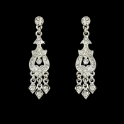 Alluring Silver Chandelier Earrings w/ Clear Rhinestones 2034