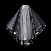 "Bridal Wedding Veil Shoulder Length Veil w/Rosette Appliques (20"" x 22"") Veil 510"