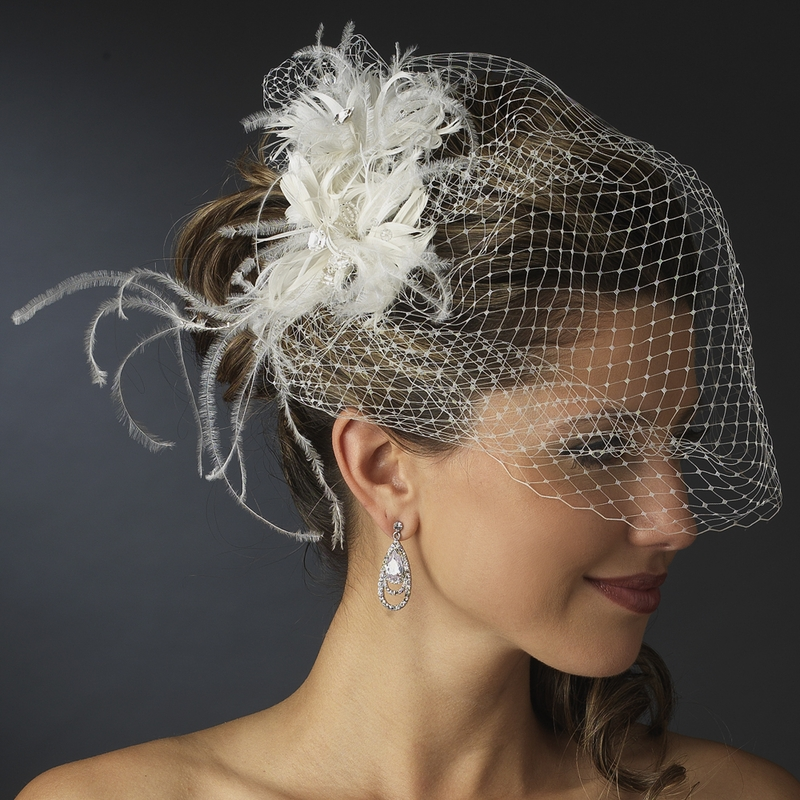 Veils And Headpieces: * Feather Fascinator Flower With Crystal & Rhinestone