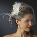 * Feather Fascinator Flower with Crystal & Rhinestone Detailing & Russian Birdcage Blusher Veil White 3219