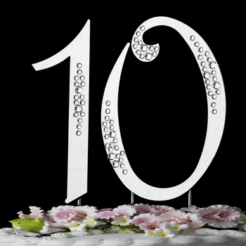 """10th Birthday or Anniversary  Crystal Accented Cake Top """"Sparkle"""""""
