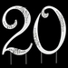 """20th Birthday or Anniversary  Crystal Accented Cake Top """" Sparkle """""""