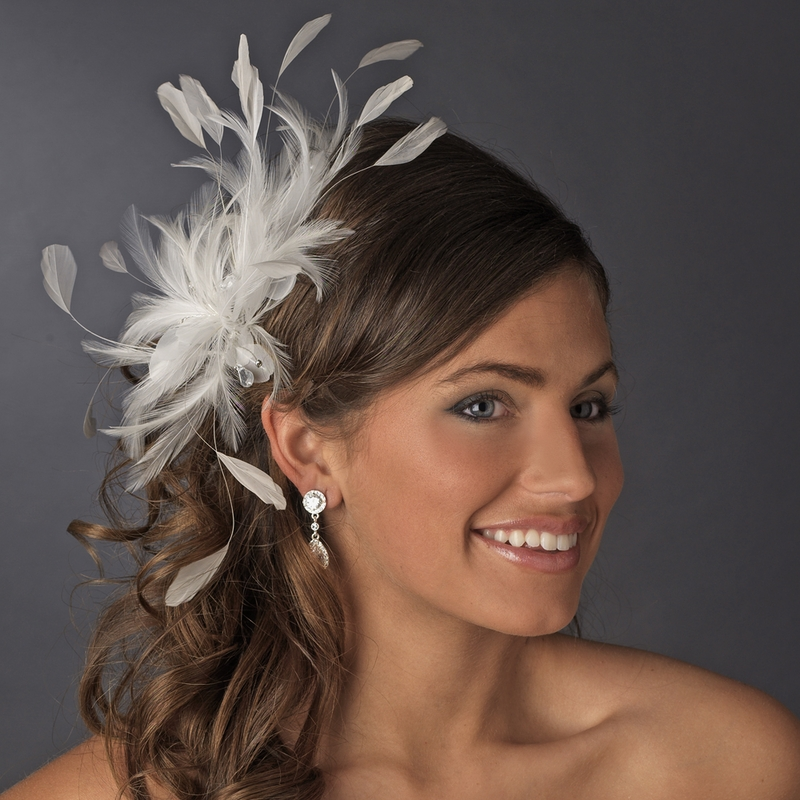 Extravagant Ivory Feather Fascinator Bridal Clip 8986