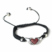 Silver Black Red Heart Rhinestone Stretch Bracelet 9009