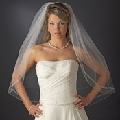 Double Layer Fingertip Length Bridal Veil with Exquisite Beaded Edge 2475