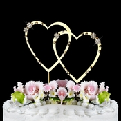 French Flower ~ Swarovski Crystal Wedding Cake Topper ~ Double Small Gold Heart
