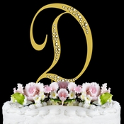 Sparkle ~ Swarovski Crystal Wedding Cake Topper ~ Gold Letter D