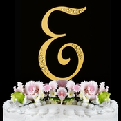 Sparkle ~ Swarovski Crystal Wedding Cake Topper ~ Gold Letter E