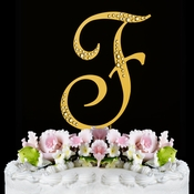 Sparkle ~ Swarovski Crystal Wedding Cake Topper ~ Gold Letter F