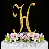 Sparkle ~ Swarovski Crystal Wedding Cake Topper ~ Gold Letter H