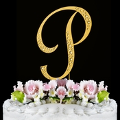 Sparkle ~ Swarovski Crystal Wedding Cake Topper ~ Gold Letter P