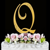Sparkle ~ Swarovski Crystal Wedding Cake Topper ~ Gold Letter Q