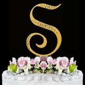 Sparkle ~ Swarovski Crystal Wedding Cake Topper ~ Gold Letter S