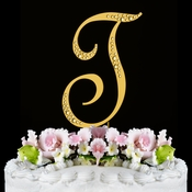 Sparkle ~ Swarovski Crystal Wedding Cake Topper ~ Gold Letter T