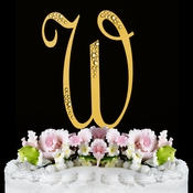 Sparkle ~ Swarovski Crystal Wedding Cake Topper ~ Gold Letter W