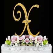 Sparkle ~ Swarovski Crystal Wedding Cake Topper ~ Gold Letter X