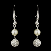 Silver Diamond White Pearl & Clear Rhinestone Pave Ball Dangle Earrings 8767