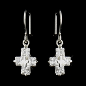 Silver Clear Rhinestone Dangle Drop Cross Earrings 24786