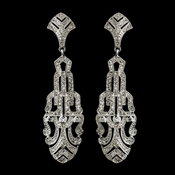 Antique Silver Clear C.Z. Crystal Earrings 8773