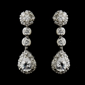 Silver Clear CZ Crystal and Rhinestone Bridal Earrings 8759