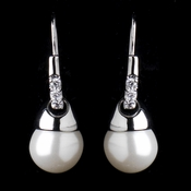 Silver Diamond White Drop Pearl & Clear Rhinestone Bridal Earrings 8788