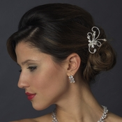 Silver Clear Floral Rhinestone Side Comb 4285