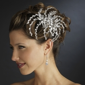 Silver Clear Marquise Rhinestone Floral Side Comb 4516