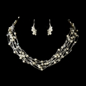 Silver Ivory Pearl & Swarovski Crystal Necklace & Earrings Bridal Jewelry Set 8249