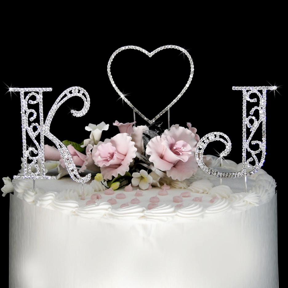roman swarovski crystal initials heart wedding cake topper set