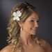 * Flower Feather Accented Bridal Hair Pin 115 Ivory