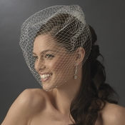 Single Layer Russian Birdcage Face Veil on Comb with Scalloping Pearl Edge 701