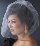 Single Tier Fine Birdcage Face Veil Scattered with Pearls 501