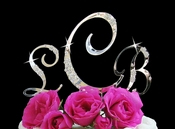 French Flower ~ Swarovski Crystal Wedding Cake Toppers ~ Letters