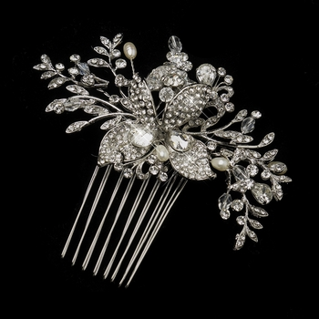 antique silver freshwater pearl swarovski crystal rhinestone flower and leaf hair b 757