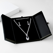 Deluxe Black or Red Leatherette Necklace & Earring Jewelry Box # 8
