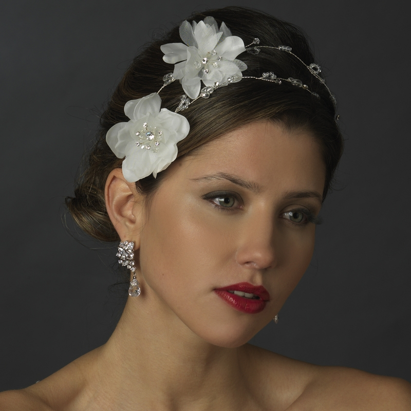 Wedding Flower Headpieces: White Flower Bridal Headpiece