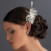 * Rhinestone Floral Galore Bridal Feather Hair Brooch & Feather Fascinator Hair Clip Silver Ivory & White