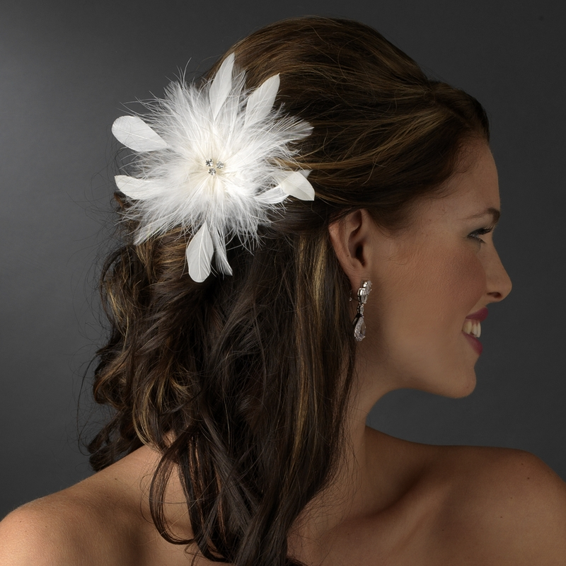 Bridal Crystal Feather Fascinator Clip 442 with Brooch Pin ( Ivory ... Crystal Wedding Cake Toppers