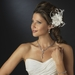 * Rhinestone Feather Ribbon Fascinator Clip 2531 with Brooch Pin (White or Ivory)