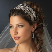 Multi Cut Rhinestone Royal Couture Tiara Headpiece 9958 Silver or Gold