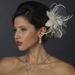* Ivory Flower Feather & Crystal Fascinator Hair Clip 518