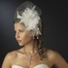 * Silver Clear Crystal & Ivory Feather Fascinator Bridal Hat Headpiece Clip 9794