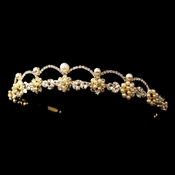 * Gold Ivory Pearl & Clear Rhinestone Headpiece 2555