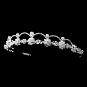 * Silver White Pearl & Clear Rhinestone Headpiece 2555