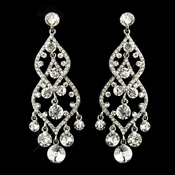 Silver Clear Rhinestone Bridal Chandelier Earrings 22564