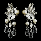 Antique Silver Diamond White Pearl, Crystal and Rhinestone Bridal Earrings 22641