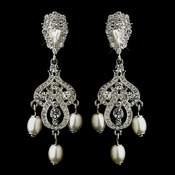 Antique Silver White Pearl & Clear Rhinestone Chandelier Bridal Earrings 22642